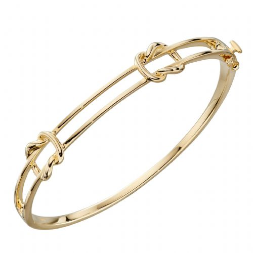 Double Knot Link Gold Bangle (GB483)